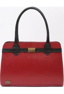 Bolsa Em Couro Com Recortes- Vermelha & Preta- 23X36Di Marlys