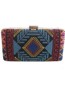 Bolsa Real Arte Clutch Bordado Étnico Multicolorida - Kanui