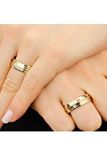 Aliança De Ouro Com Filete Em Ouro Branco - As0269