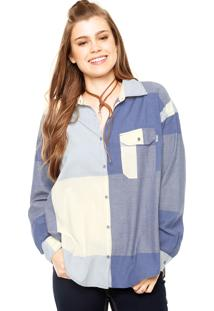 Camisa Manga Longa Roxy Breezy Azul/Off-White