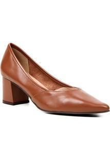Scarpin Couro Shoestock For You Salto Bloco Médio - Feminino-Marrom