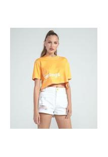 Blusa Cropped Manga Curta Estampa Can'T Stop The Feelings | Blue Steel | Amarelo | Gg