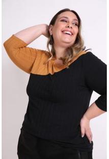 Blusa Bicolor Plus Size Kaue Plus Size Feminina - Feminino-Preto