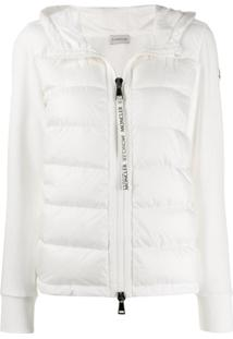 Moncler Fabric And Padded Zipped Jacket - Branco