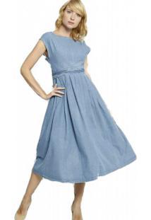 Vestido Bon Midi Jeans Com Pregas Azul - Kanui