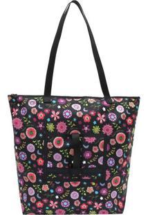 Bolsa De Ombro 2 Em 1 Dobrável & Compacta Floral- Preta Luggtogo