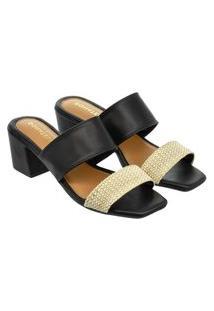 Sandália Feminina Donatella Shoes Bico Quadrado Salto Alto Bloco Juta Preto