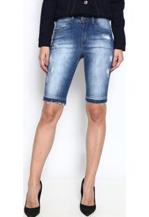 Bermuda Jeans Com Puídos - Azul - Osmozeosmoze