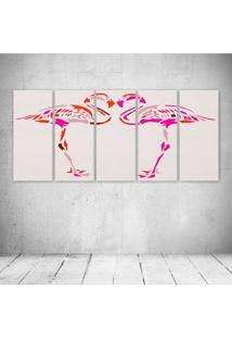 Quadro Decorativo - Flamingos Rosa - Composto De 5 Quadros - Multicolorido - Dafiti