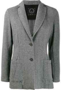 T Jacket Blazer Com Abotoamento Simples - Cinza