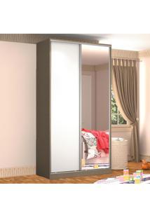 Guarda-Roupa Solteiro 2 Portas Correr 1 Espelho 100% Mdf Rc2005 Ocre/Branco - Nova Mobile