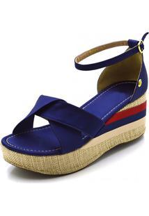 Sandália Flor Da Pele Anabela Trançada Salto Médio Em Cetim Azul Marinho - Kanui