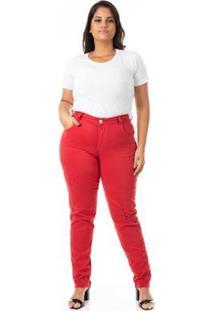 Calça Jeans Cigarrete Color Destroyed Plus Size Feminina - Feminino-Vermelho