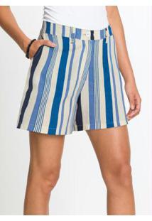 Shorts Alfaitaria Com Linho Listrado Azul