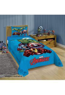 Jogo De Cama Avengersâ® Solteiro- Azul Claro & Vermelho