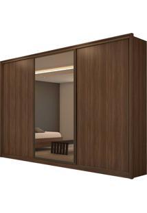 Guarda Roupa Casal C/ Espelho 3 Portas De Correr 6 Gavetas Spazio Glass Imbuia Naturale/Off White/Imbuia Naturale Lopas - Tricae