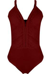 Body Outletdri Feminino Renda Rendado Alcinha Trança Trançado Decote Vermelho