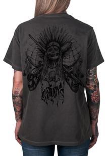 Camiseta Artseries Índio Caveira Skate Or Die Grafite