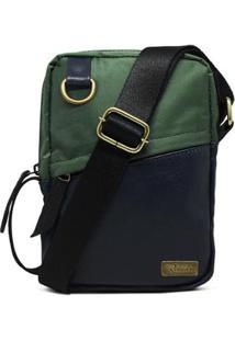 Shoulder Relicário Bolsas E Pastas Bag Couro Nylon Oliver - Unissex-Azul+Verde