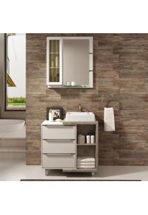 Gabinete Para Banheiro Com Pés Espelheira Nicho Cuba Mônaco Branco Supremo Arinto Balcony