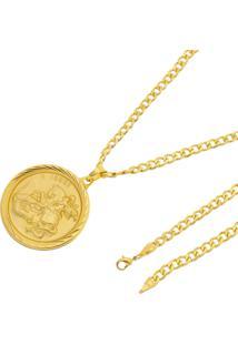 Pingente São Jorge E Conjunto 5Mm Pulseira E Corrente Tudo Jóias Folheado A Ouro 18K Dourada