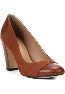 Scarpin Couro Shoestock Salto Alto Mix Croco - Feminino-Caramelo