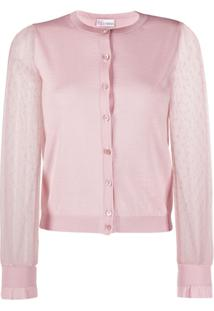 Red Valentino Cardigan Point D' Espirit Com Tule - Rosa