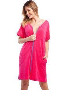 Robe Atoalhado Pink Com Bolso E Zíper Azul