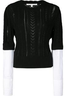 Veronica Beard Shirt Cuff Knitted Top - Preto