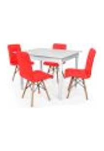 Conjunto Mesa De Jantar Robust 110X90 Branca Com 4 Cadeiras Eiffel Gomos - Vermelha