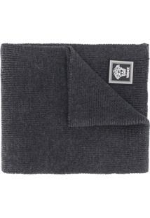 Versace Cachecol De Lã Com Patch De Logo - Cinza