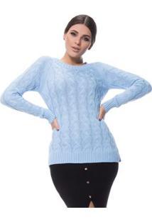 Blusa Logan Tricot Trançada Inteira Grossa - Feminino-Azul