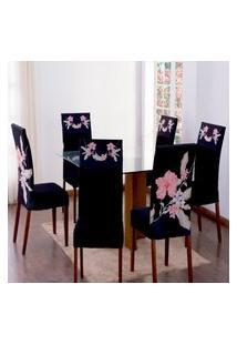 Kit 6 Capas Para Cadeira Jantar Malha Elástico Paris Est.1