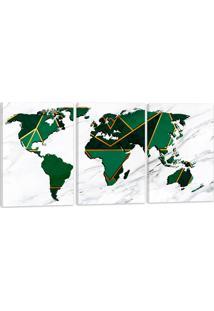 Quadro Oppen House Mapa Mundi Verde Luxo 60X120Cm Decoração Escritórios Salas Empresas