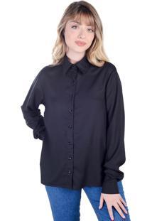 Camisa Clássica Preta Manga Longa (, Gg)