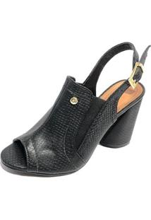 Sandália Ankle Boot Cia Do Porto Cobra Feminina - Feminino-Preto
