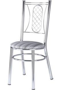 Cadeira Assento Estofado Móveis Brastubo Cromado/Listrado Preto