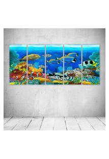 Quadro Decorativo - Sea Seabed Fish Corals Underwater Ocean - Composto De 5 Quadros