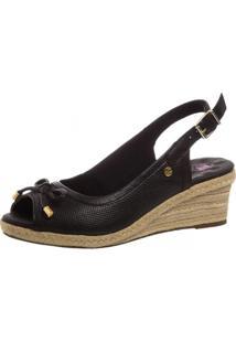 Sandália Anabela Doctor Shoes 660 Laço Preto