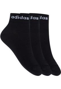 Kit De Meias Adidas Bs Ankle Com 3 Pares - 39 A 42 - Masculino - Preto