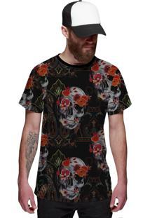 Camiseta Di Nuevo Skull Flower Preta Top Preta