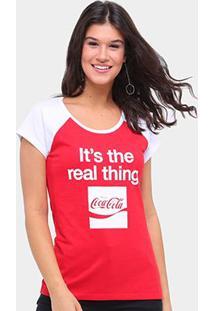 Camiseta Coca Cola Real Thing Feminina - Feminino-Vermelho