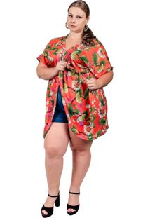 Kimono Arsenal Textil Saída De Praia Floral Laranja