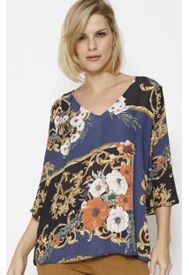 Blusa Acetinada Floral - Azul & Douradasimple Life