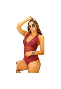 Body Summer Body Renda Alcinha Bordô