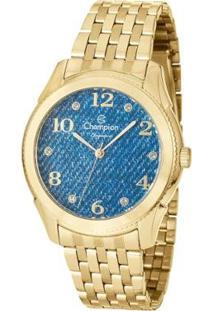 Kit Relógio Champion Analógico Cn26984C Feminino - Feminino-Dourado