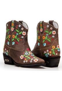 Bota Texana Country Capelli Boots Cano Curto Detalhes Bordado Feminina - Feminino-Café