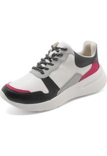 54bc3a895ed0f Dafiti. Calçado Tênis Branco Preto Rosa Feminino Santos Dad Sneaker Loucos  E Chunky ...