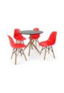 Conjunto Mesa De Jantar Maitê 80Cm Preta Com 4 Cadeiras Charles Eames - Vermelha