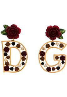 Dolce & Gabbana Par De Brincos Dg Com Cristais - Dourado